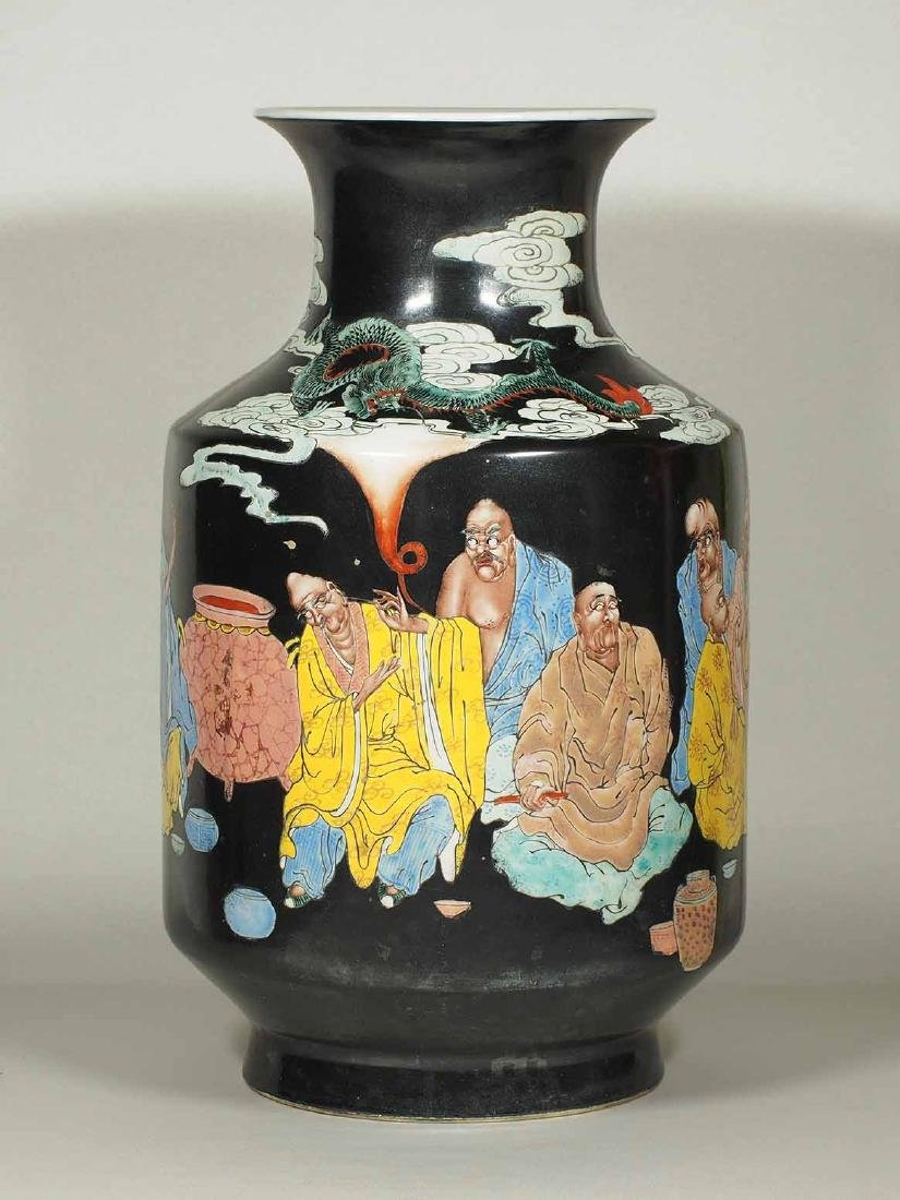 Large Vase with 18 Arhats Design, Daoguang Mark, late