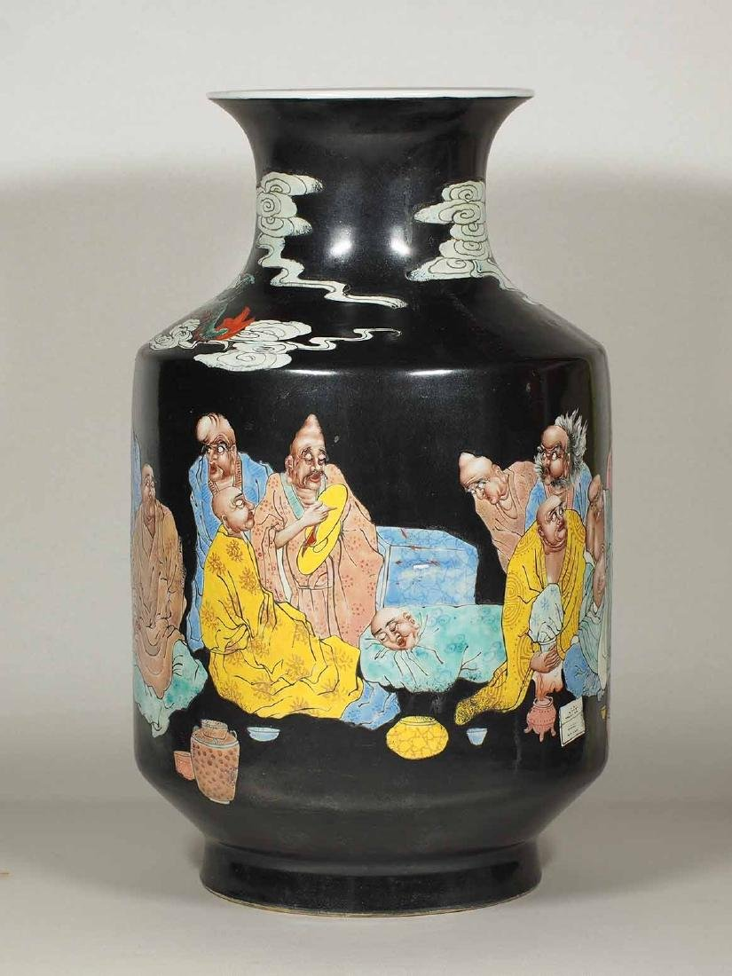 Large Vase with 18 Arhats Design, Daoguang Mark, late - 4
