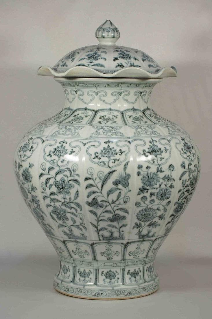 Large Lidded Lobed Jar with Floral Design, Hongwu, Ming