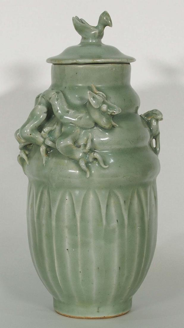 Lidded Funerary Urn with Moulded Dragon, Song Dynasty