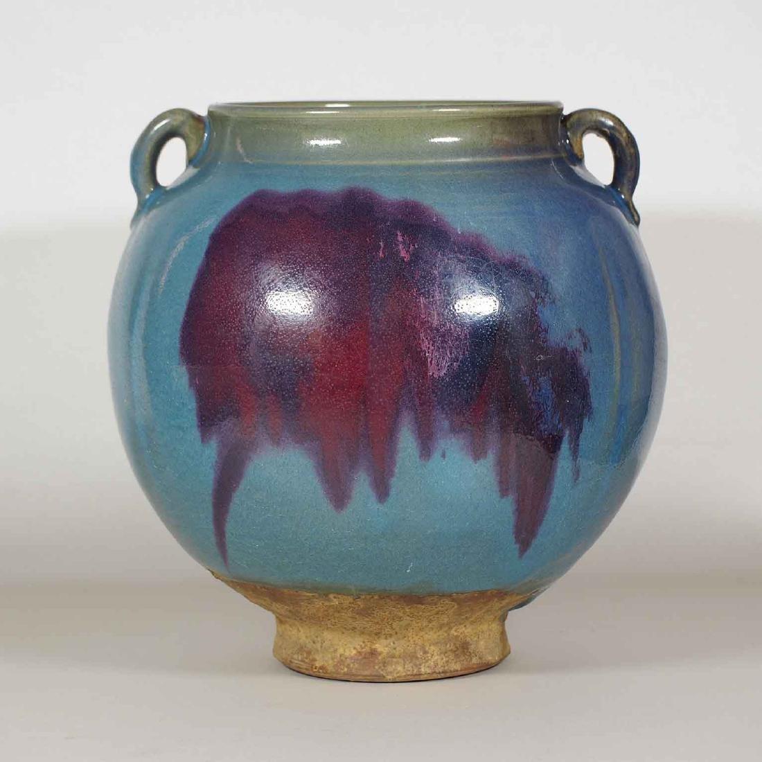 Large Jun Jar with Purple Splash and Two Lugs, Yuan