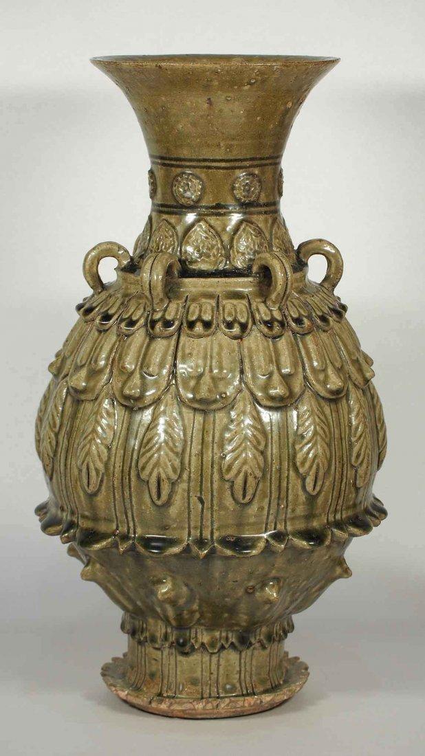 Zun' Vessel with Lotus Petal Design, Northern Qi