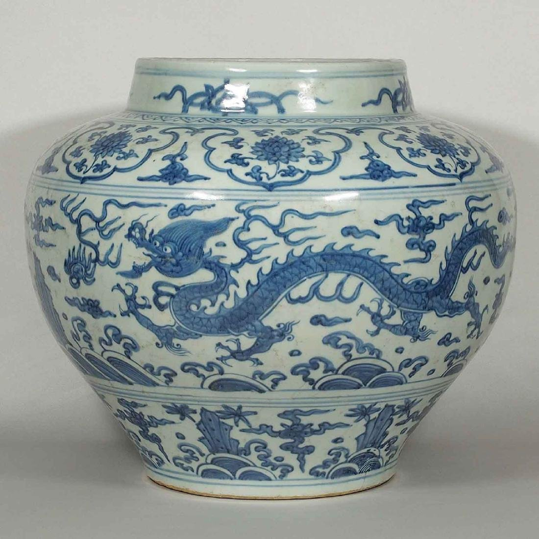 Massive Jar with Two Dragons Design, 15th Century Ming - 3