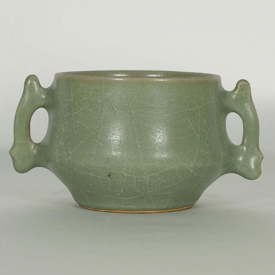 Longquan Crackled Censer with Handle, Song Dynasty