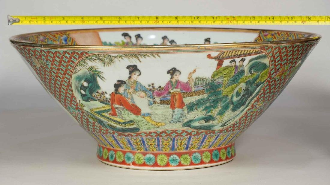 Massive Fencai Conical Bowl with Ladies Scenes, - 12