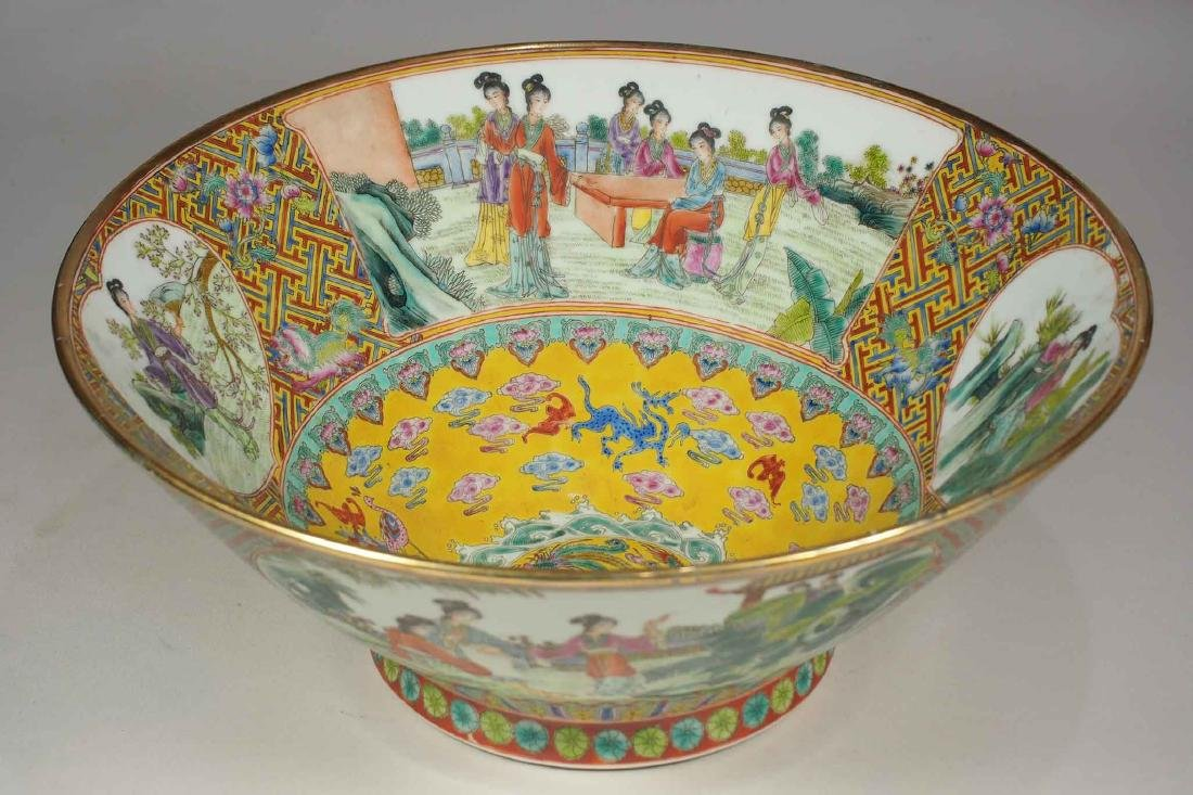 Massive Fencai Conical Bowl with Ladies Scenes,