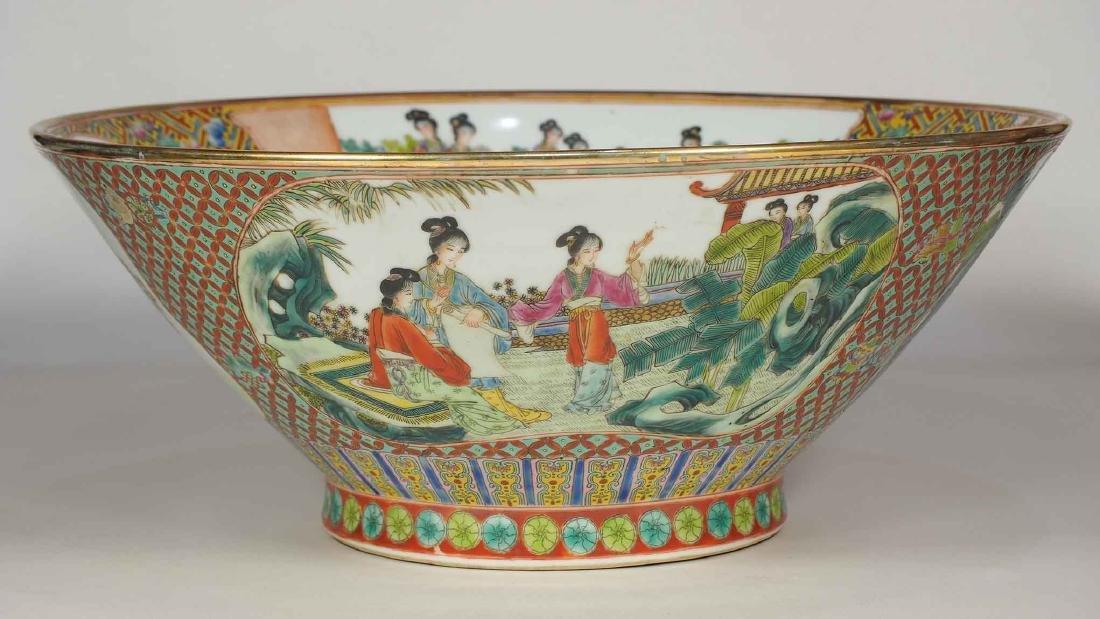 Massive Fencai Conical Bowl with Ladies Scenes, - 2