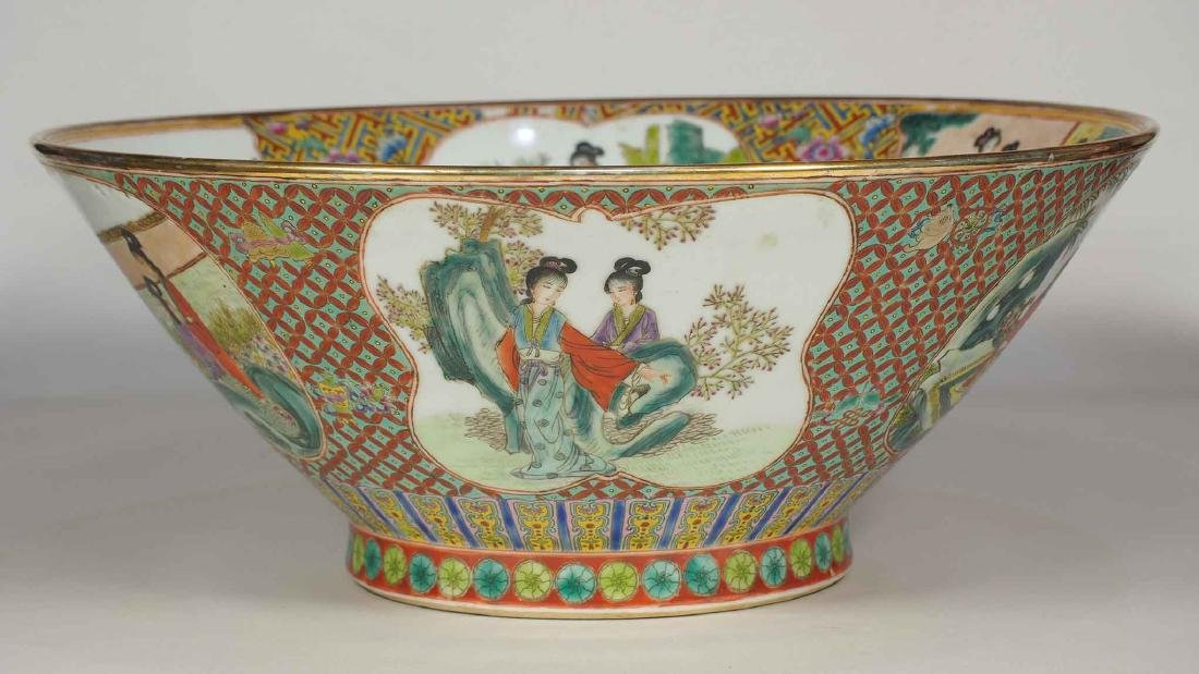 Massive Fencai Conical Bowl with Ladies Scenes, - 3