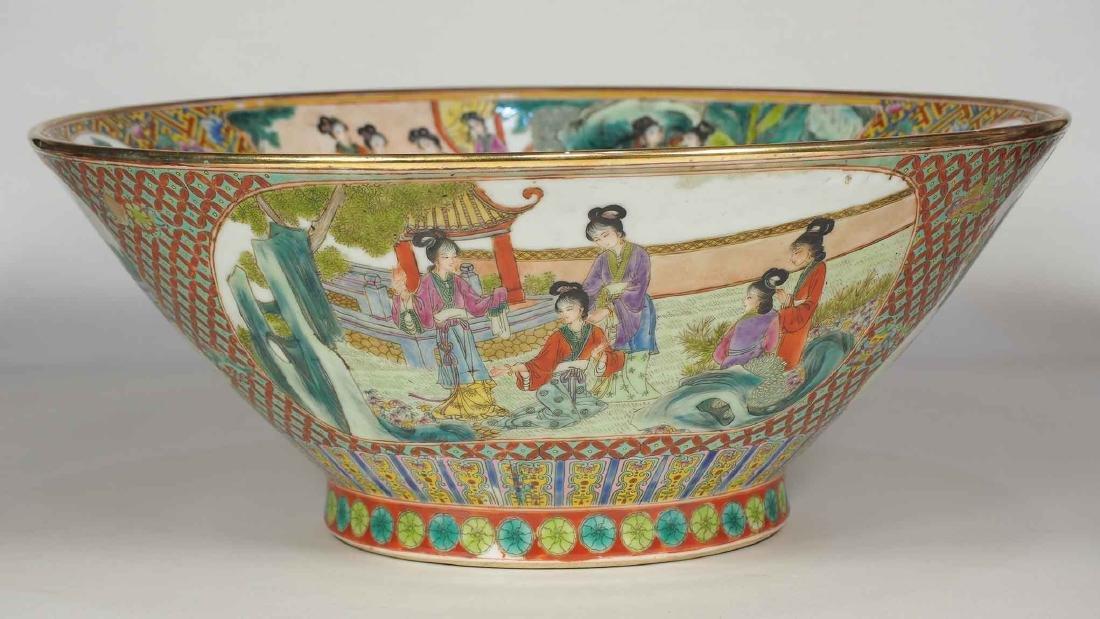 Massive Fencai Conical Bowl with Ladies Scenes, - 4