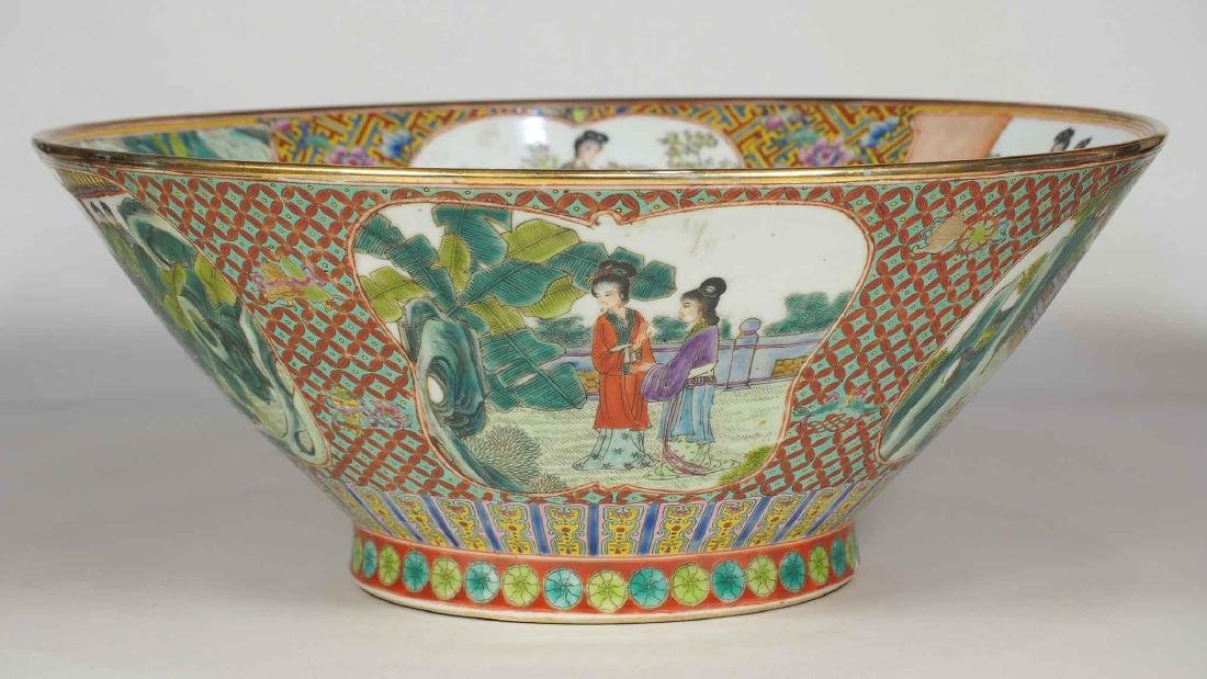Massive Fencai Conical Bowl with Ladies Scenes, - 5