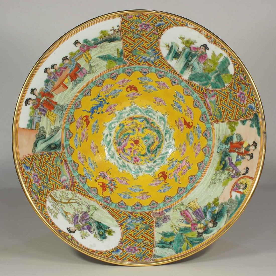 Massive Fencai Conical Bowl with Ladies Scenes, - 6