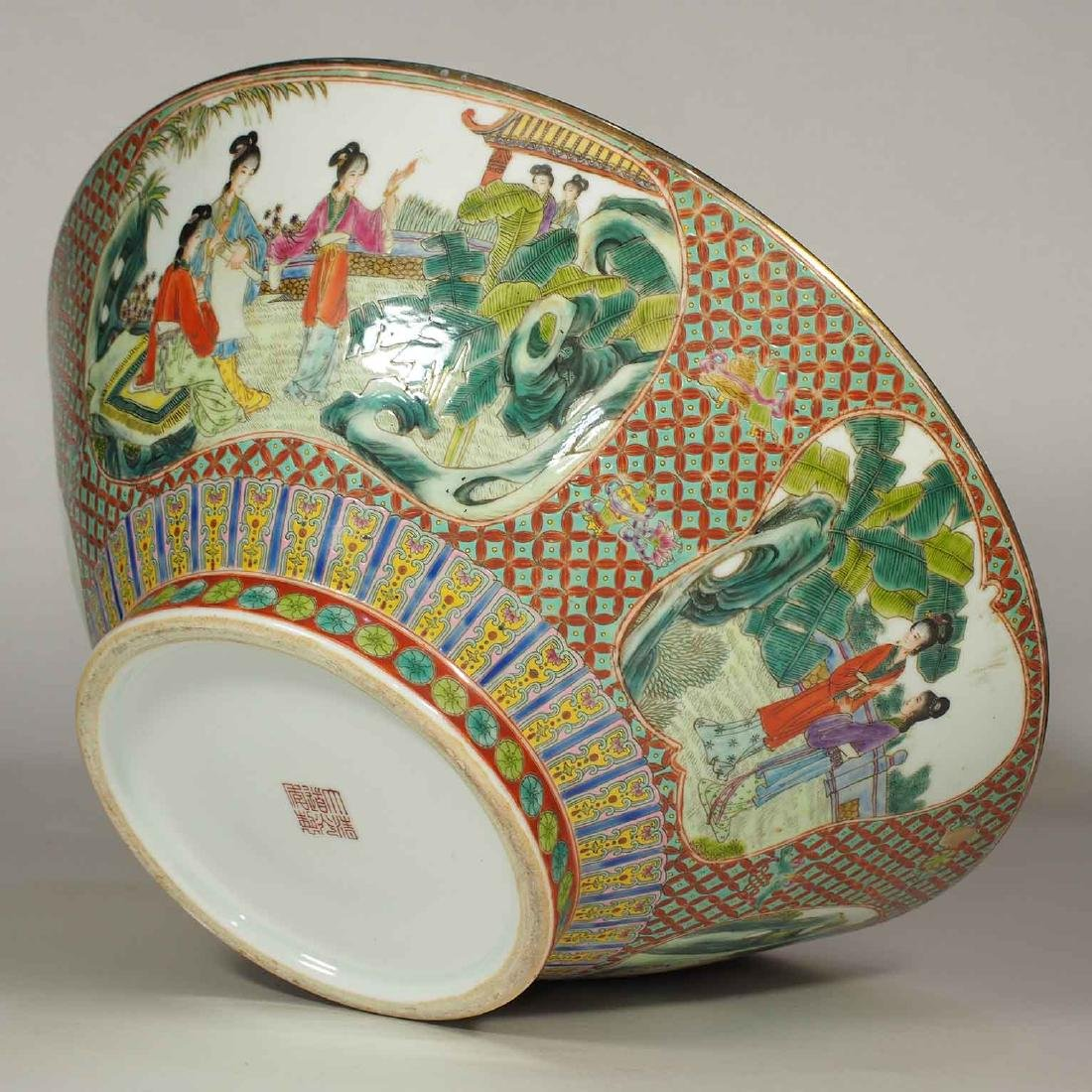 Massive Fencai Conical Bowl with Ladies Scenes, - 9
