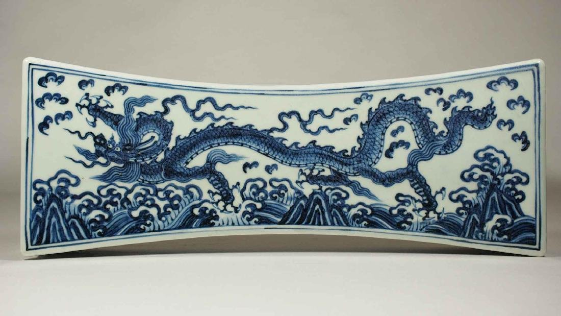 Pillow with Dragon above Waves, Xuande Mark, Ming