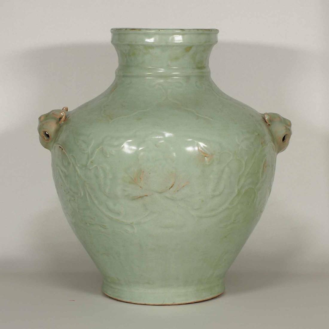 Longquan Hu-form Jar with Carved Peony Scroll, early - 3