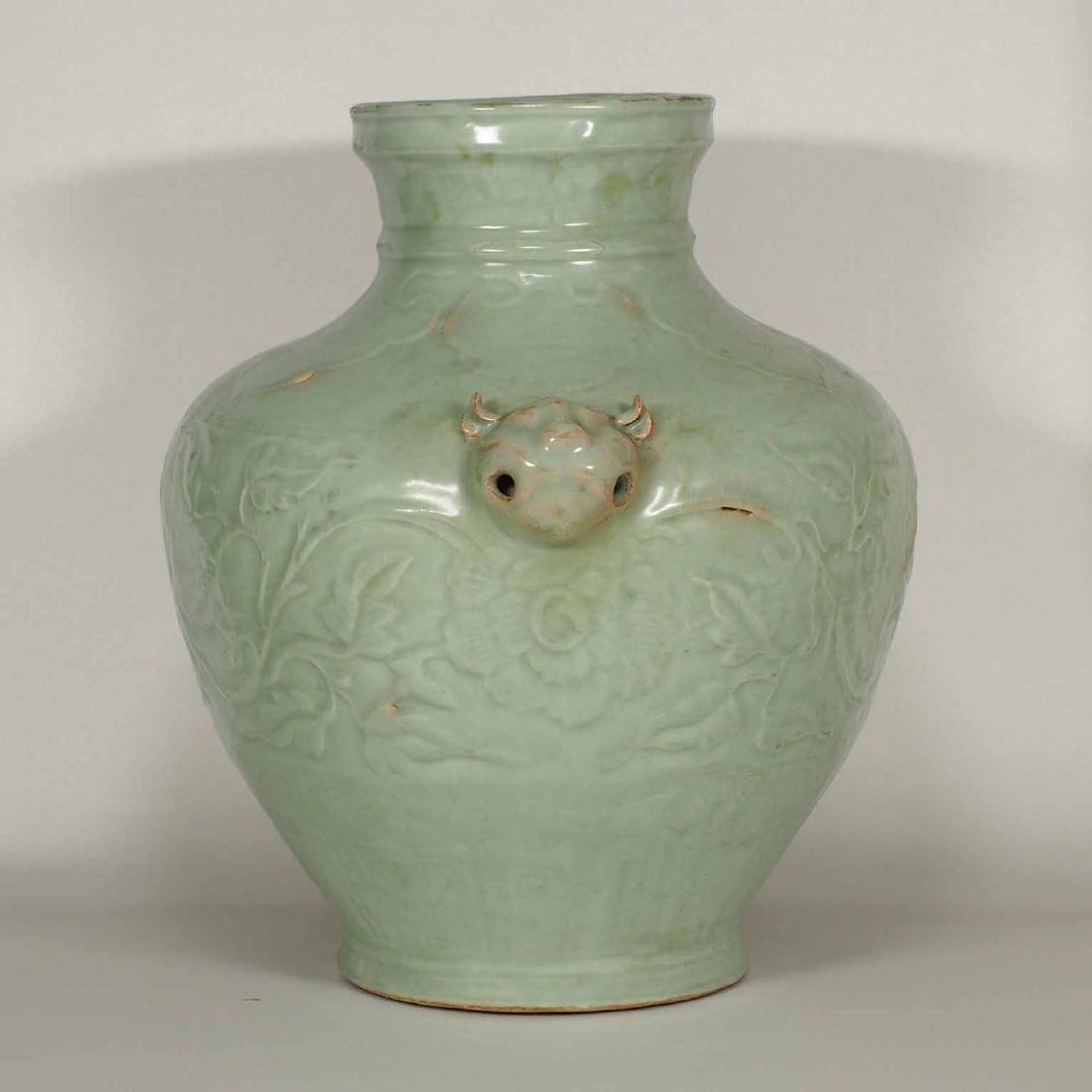 Longquan Hu-form Jar with Carved Peony Scroll, early - 4