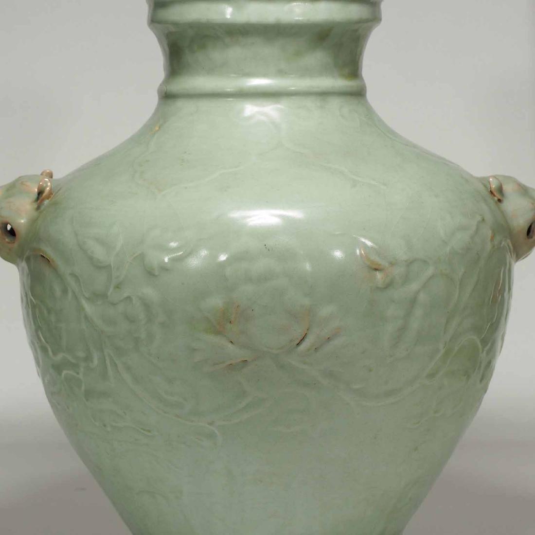 Longquan Hu-form Jar with Carved Peony Scroll, early - 5