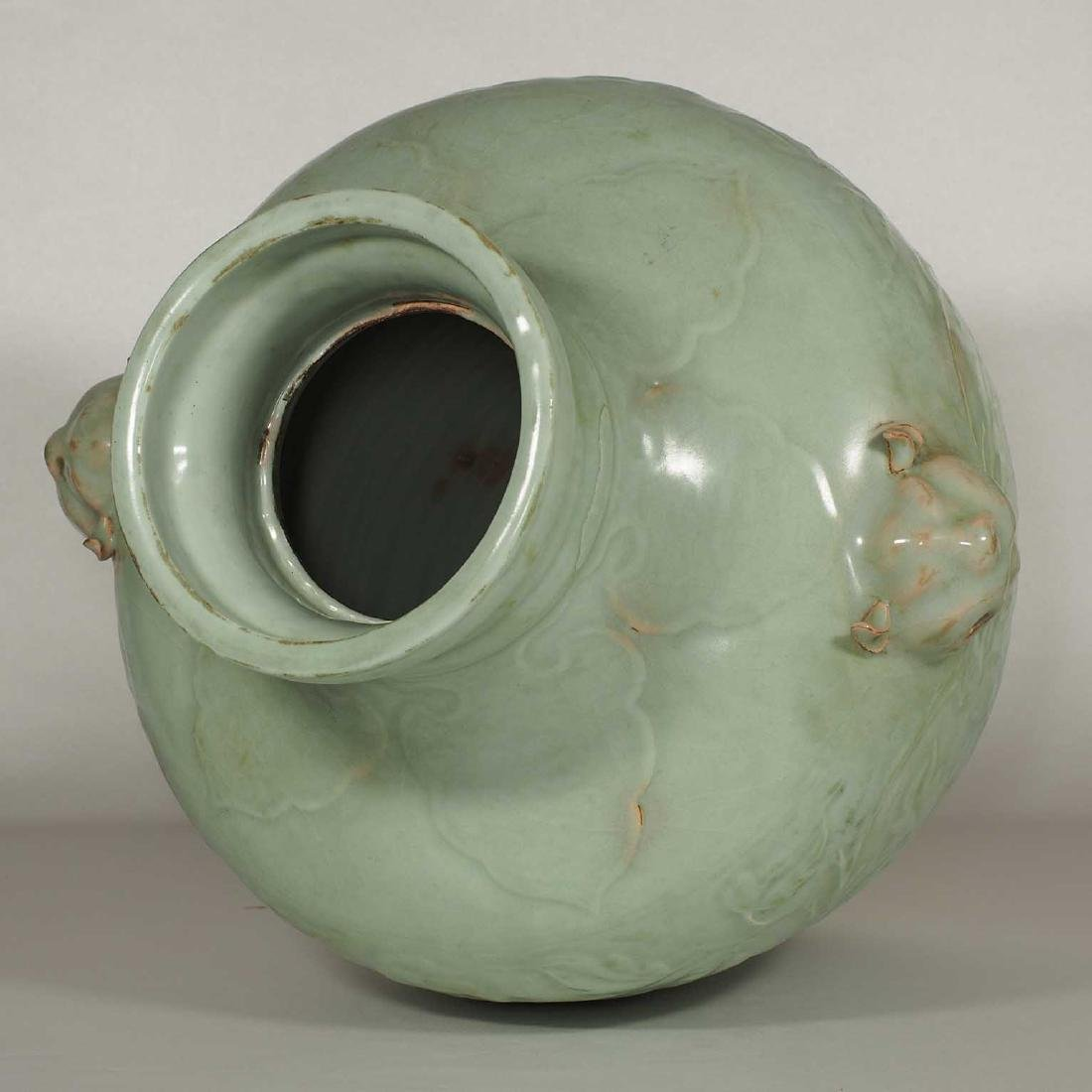 Longquan Hu-form Jar with Carved Peony Scroll, early - 8
