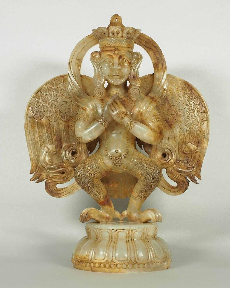 White Jade Winged Garuda Buddha, Probably Yuan Dynasty