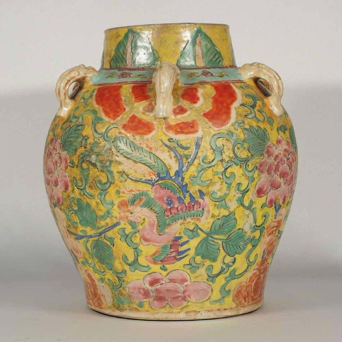 Polychrome Jar with Phoenix, late Ming Transitional