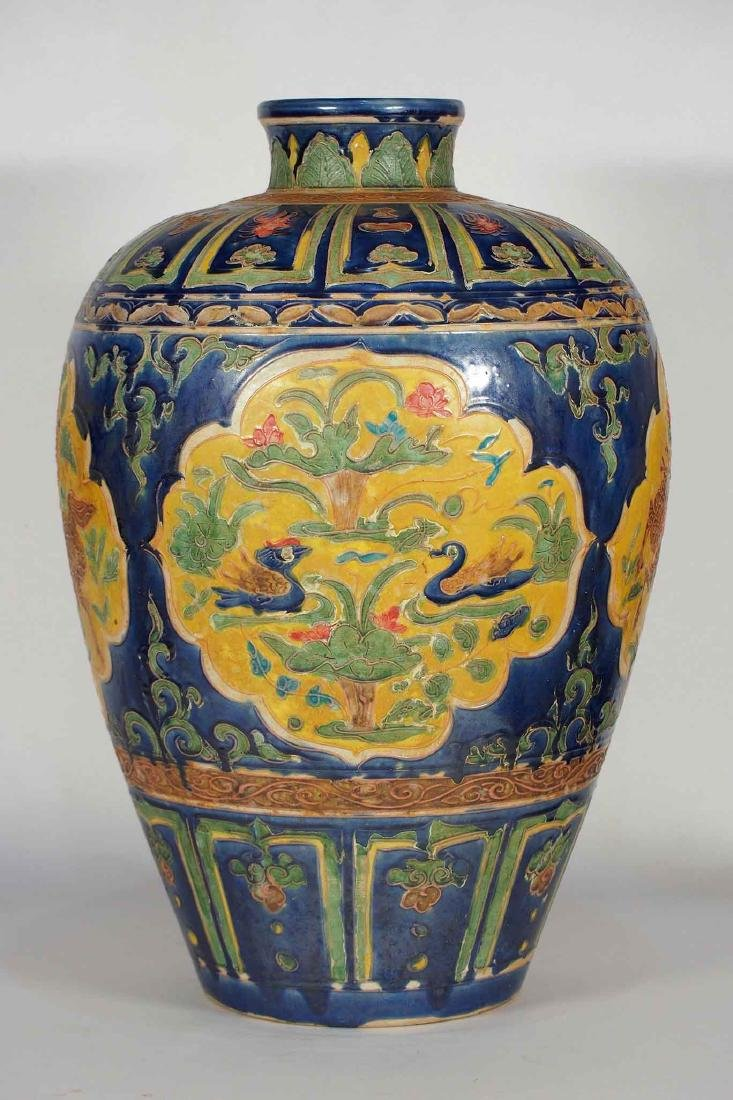 Large Fahua Meiping with Blue Backgound, late Ming
