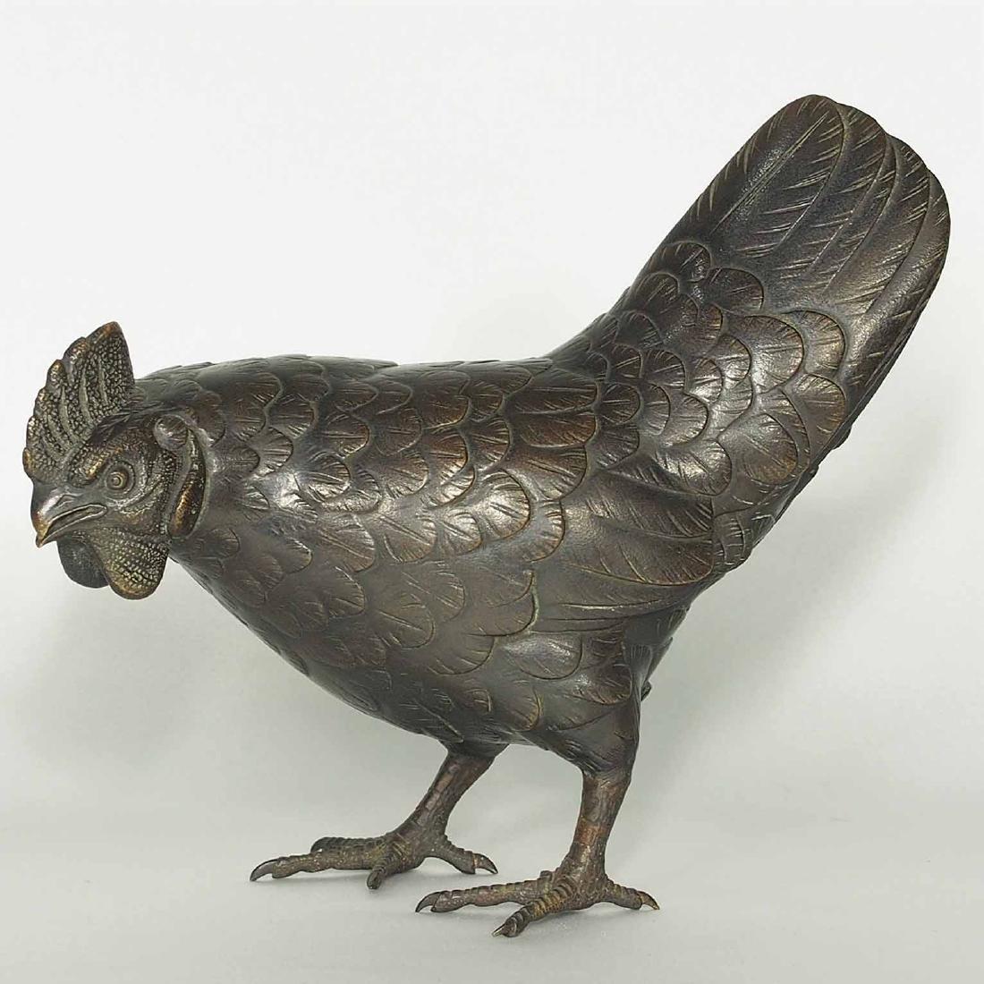 Rooster and Hen Bronze, Artist Mark, Meiji Period - 11