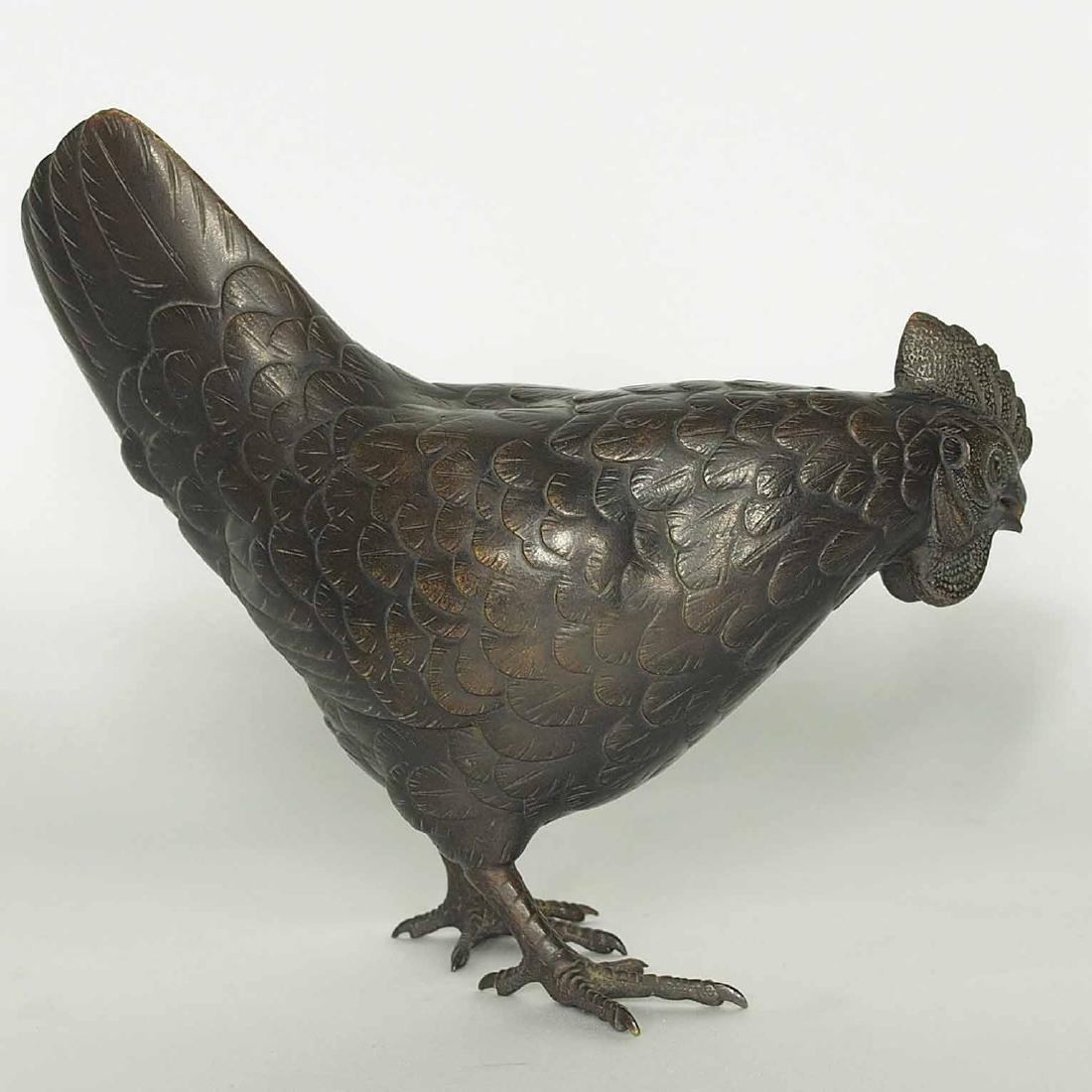 Rooster and Hen Bronze, Artist Mark, Meiji Period - 12