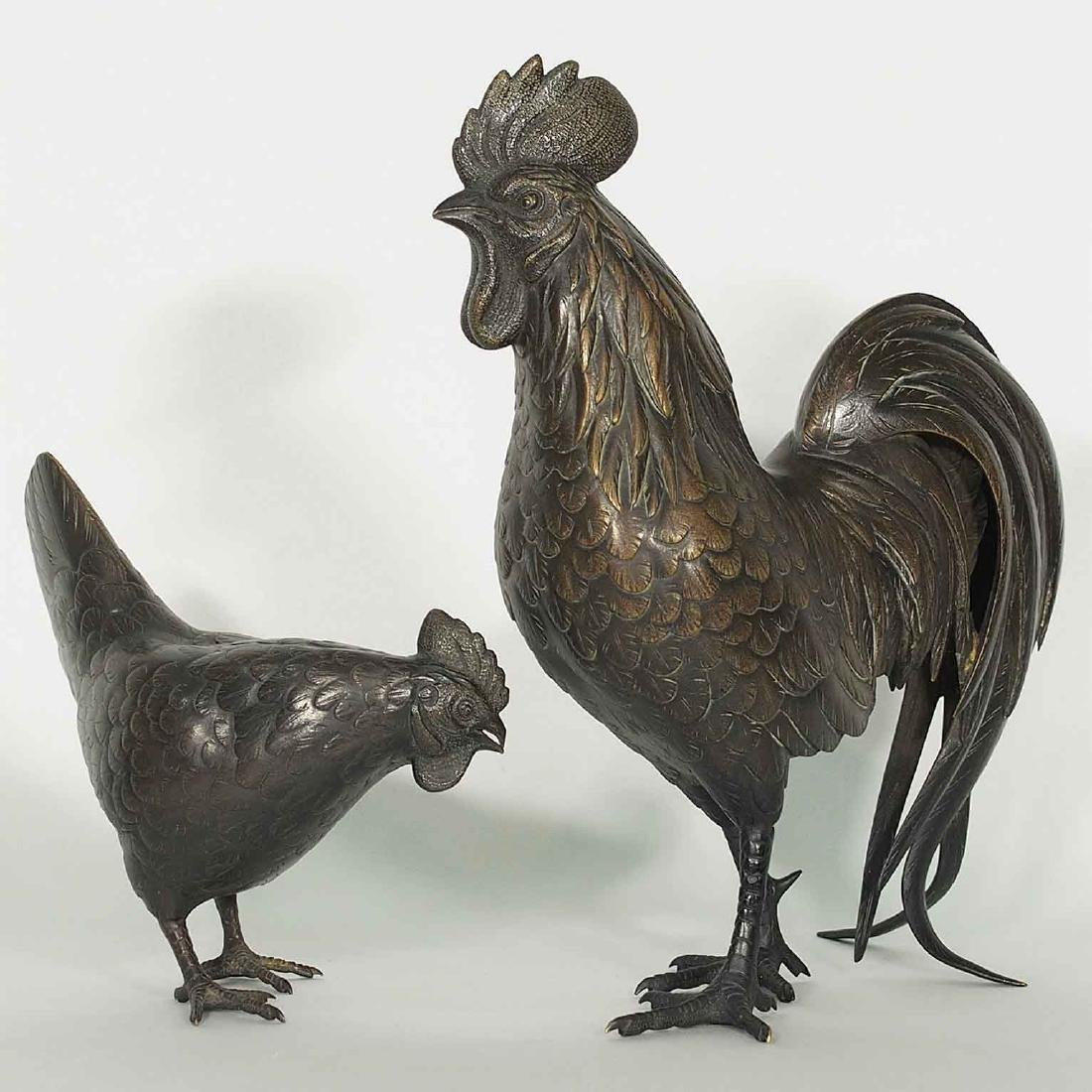 Rooster and Hen Bronze, Artist Mark, Meiji Period