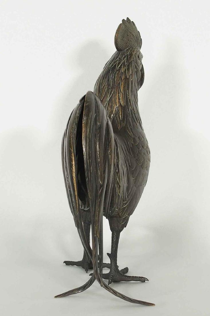 Rooster and Hen Bronze, Artist Mark, Meiji Period - 6