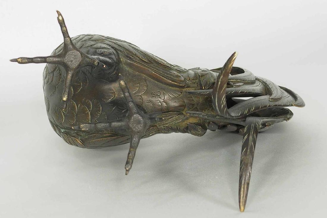 Rooster and Hen Bronze, Artist Mark, Meiji Period - 7