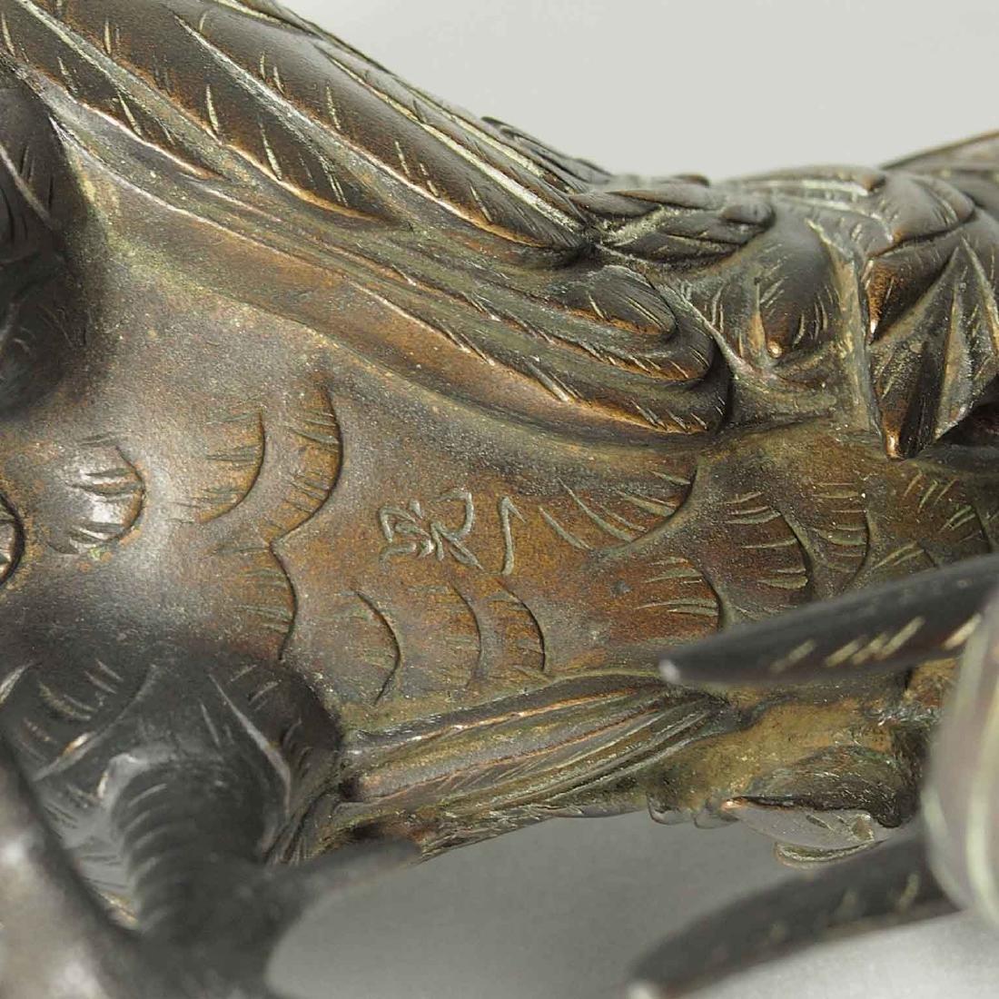 Rooster and Hen Bronze, Artist Mark, Meiji Period - 8