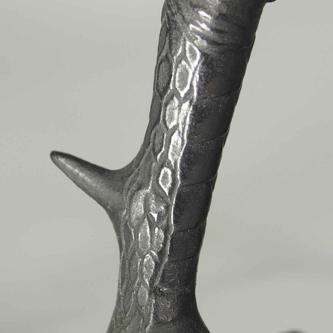 Rooster and Hen Bronze, Artist Mark, Meiji Period - 9