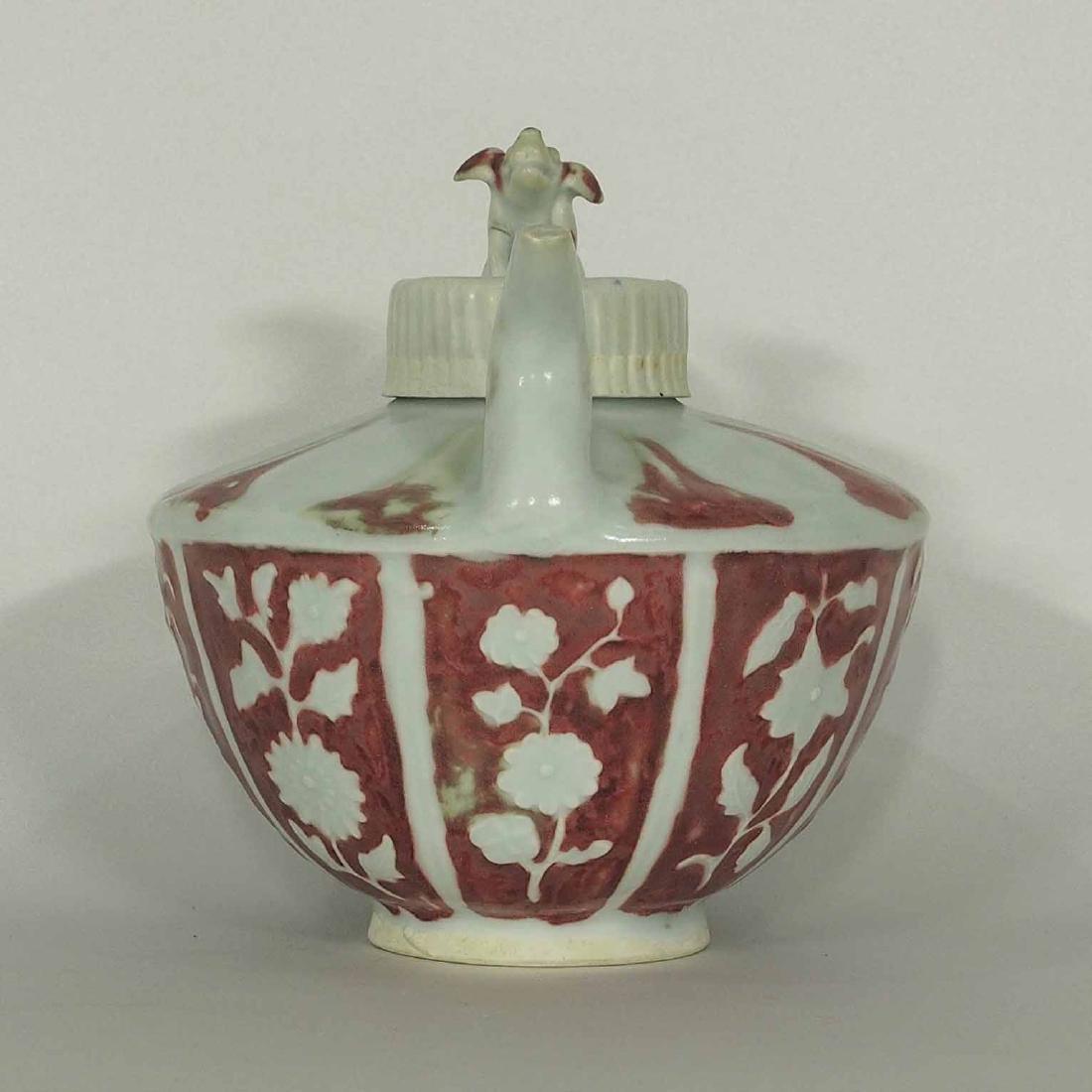 Half Round Ewer with Qilin Lid, Yuan Dynasty - 3