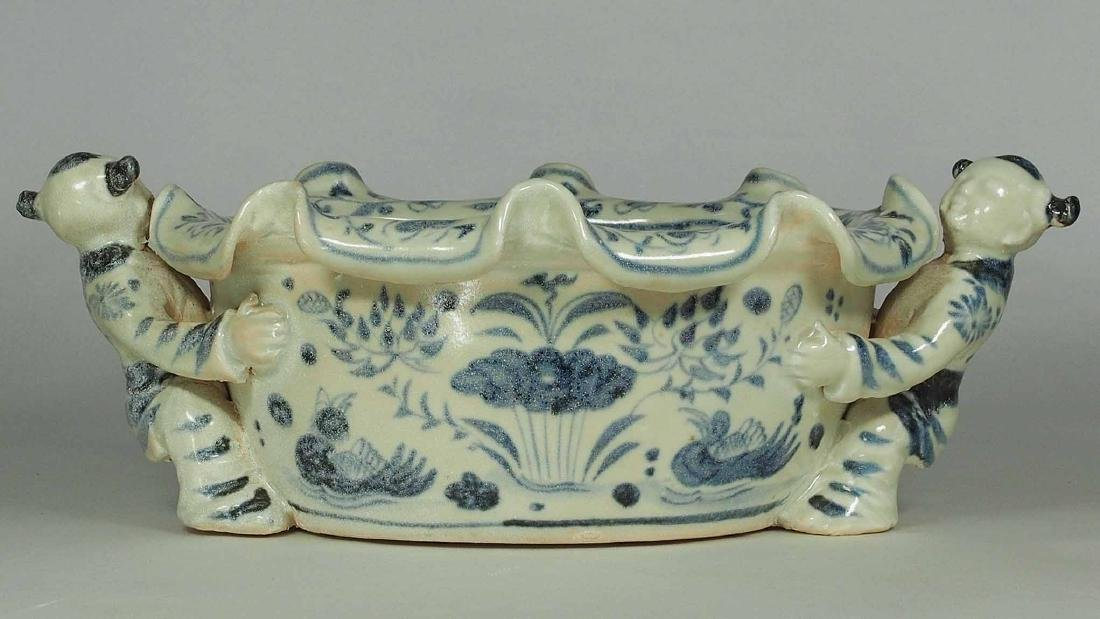 Foliated Rim Washer with Moulded Kids, Yuan Dynasty