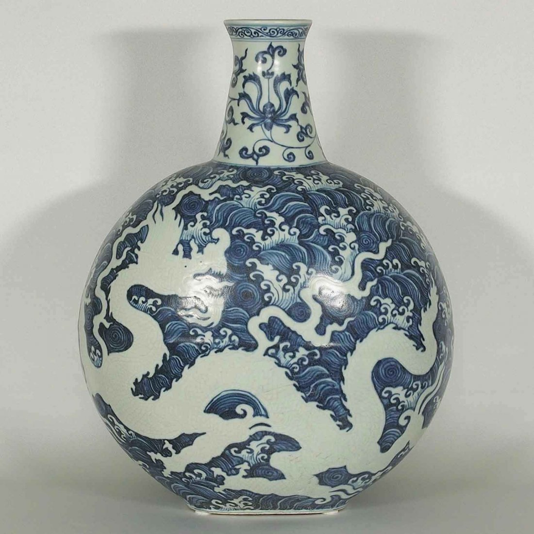 Large Moon-Flask with Dragon, Yongle Ming Dynasty