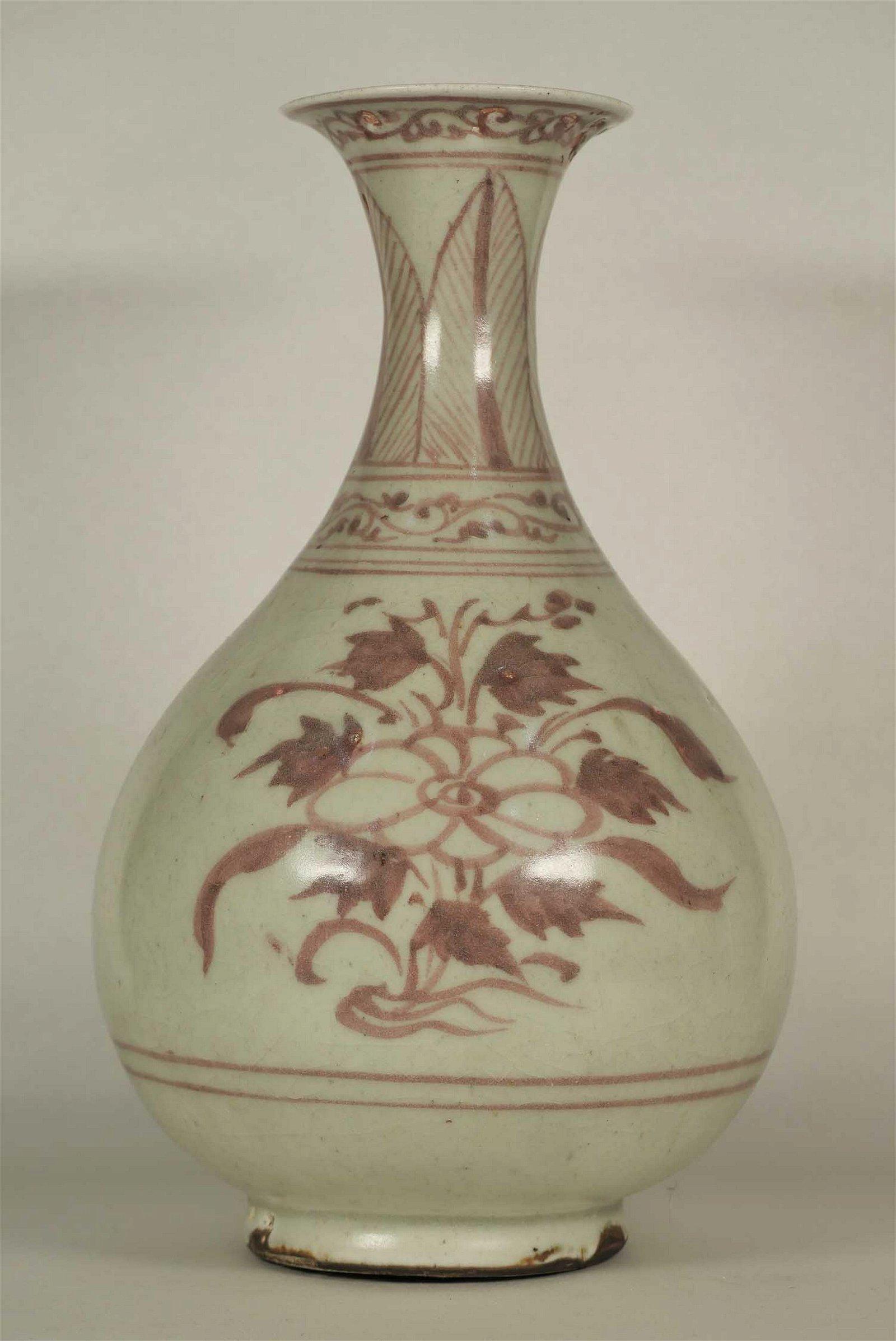 Yuhuchun Vase with Floral Motif, Yuan