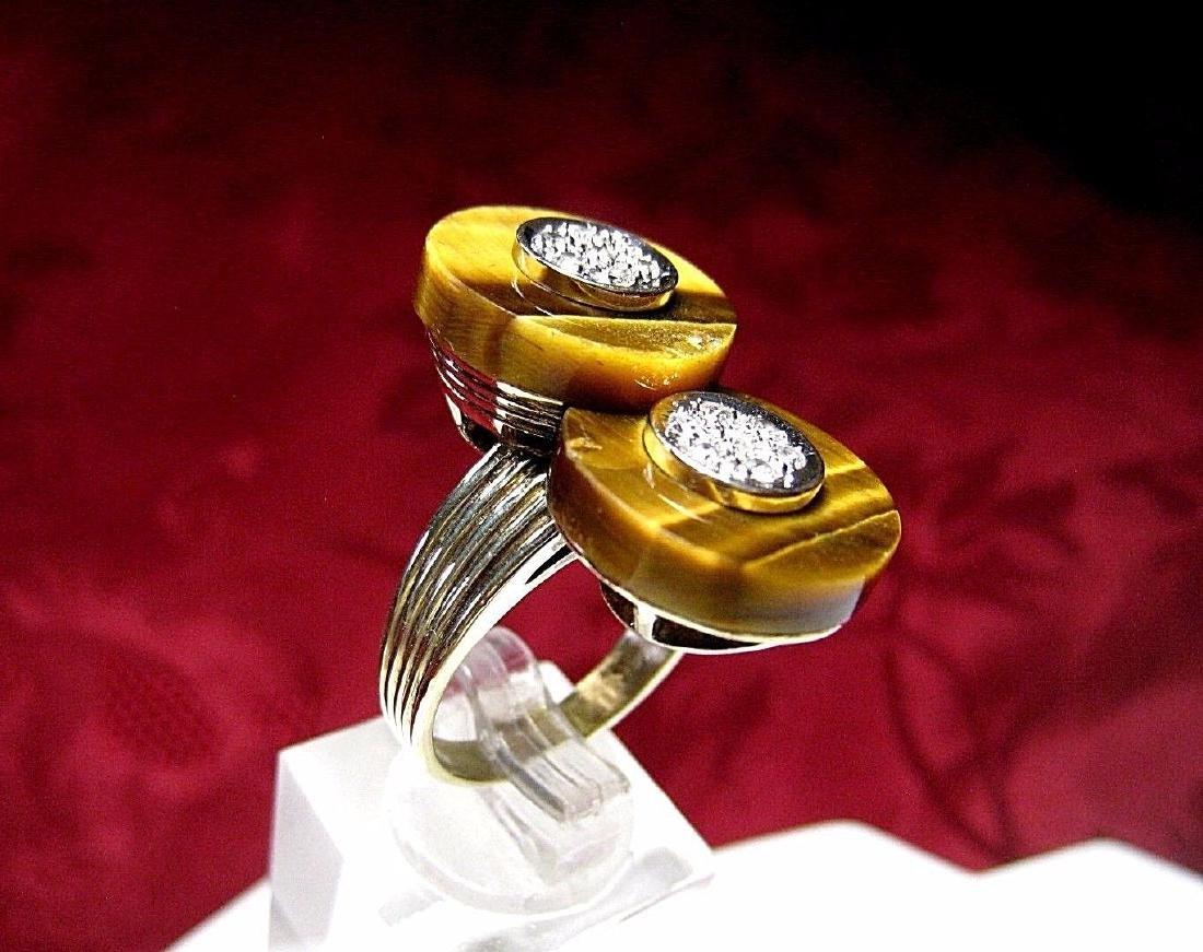14K YELLOW GOLD TIGER EYE DOUBLE DISK & DIAMONDS RING