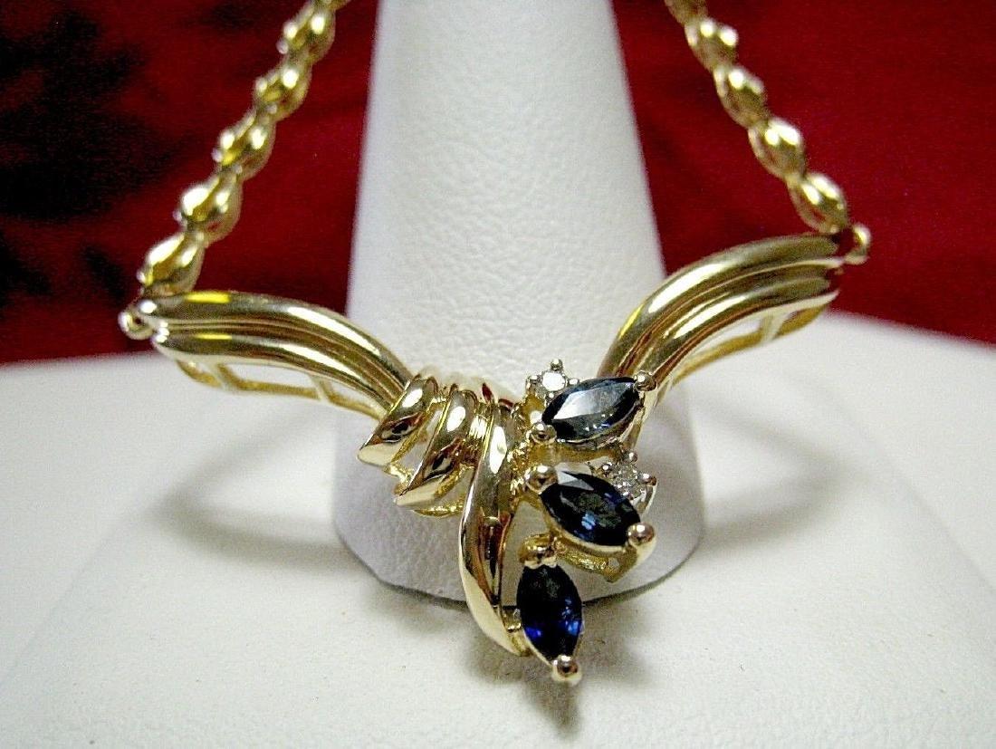 14K YELLOW GOLD MARQUISE CUT SAPPHIRE & DIAMOND