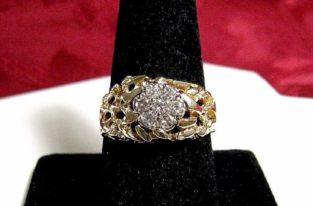 14K YELLOW GOLD NUGGET .42 CTW DIAMOND MEN'S CLUSTER