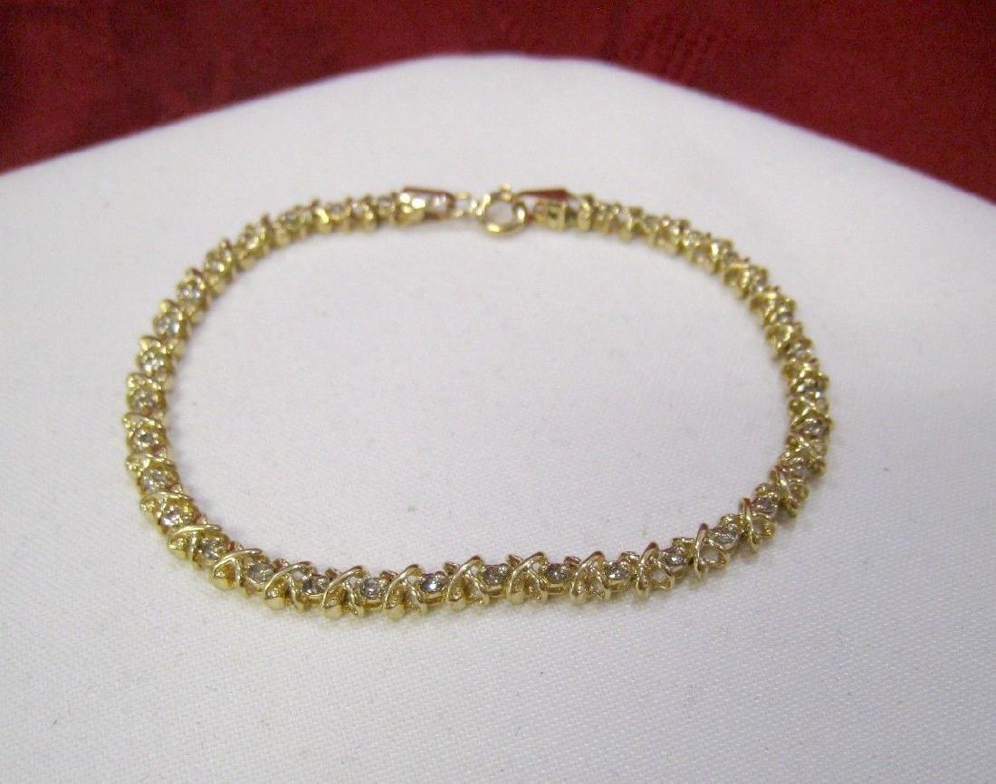 14K YELLOW GOLD 1CTW ROUND DIAMOND HUGS & KISSES X LINK