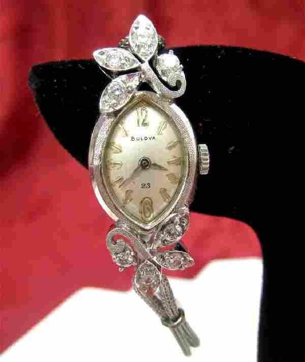 VINTAGE 14K WHITE GOLD BULOVA 23 JEWELS .62 CTW DIAMOND