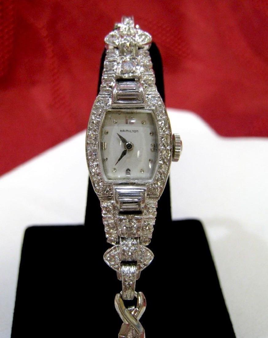 LADIES HAMILTON PLATINUM 1.5 CTW DIAMOND 22 JEWELS