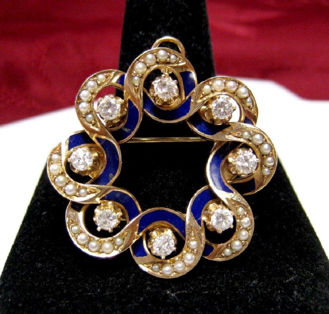 RARE 14K YELLOW GOLD .88 CTW DIAMOND & SEED PEARLS BLUE