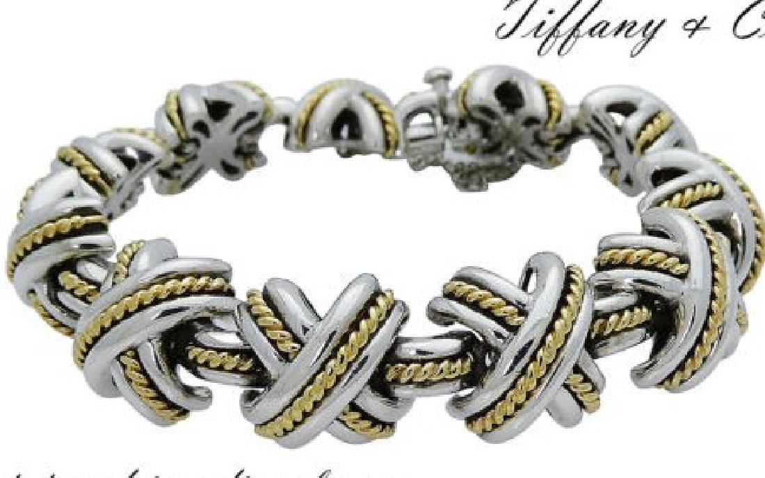 Tiffany & Co. Silver & 18k Gold Signature X Bracelet