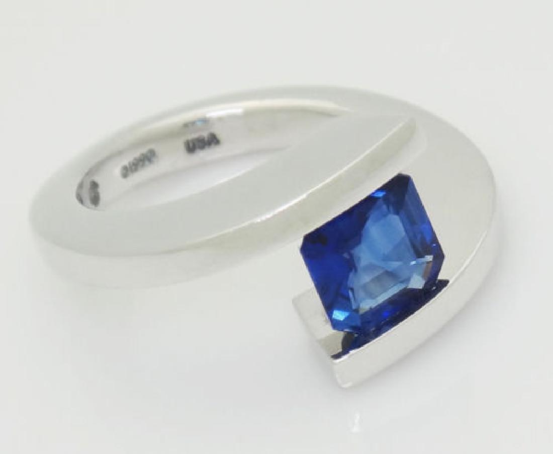 Steven Kretchmer 950 PT & 1.87 Ct Blue Sapphire Ring