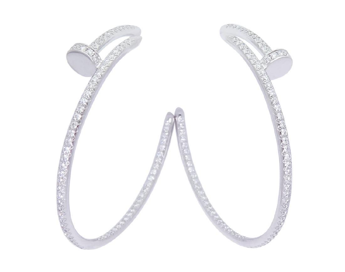 Cartier Juste Un Clou 18k Gold Diamond Hoop Earrings