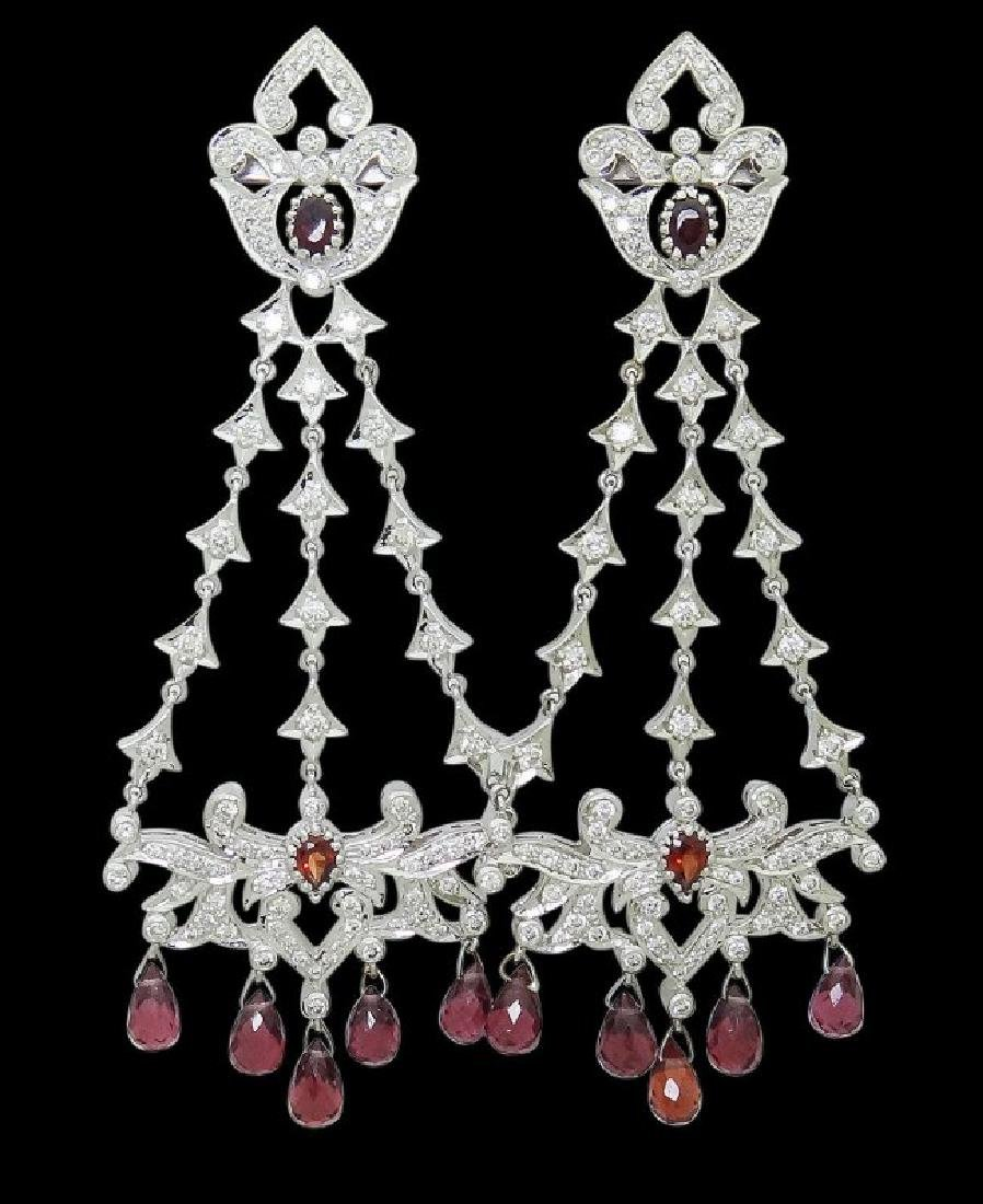 18k Gold 6.50 TCW Diamond & Garnet Chandelier Earrings