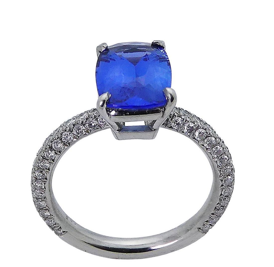 Platinum 3.50 TCW Diamond & No Heat Sapphire Ring Size