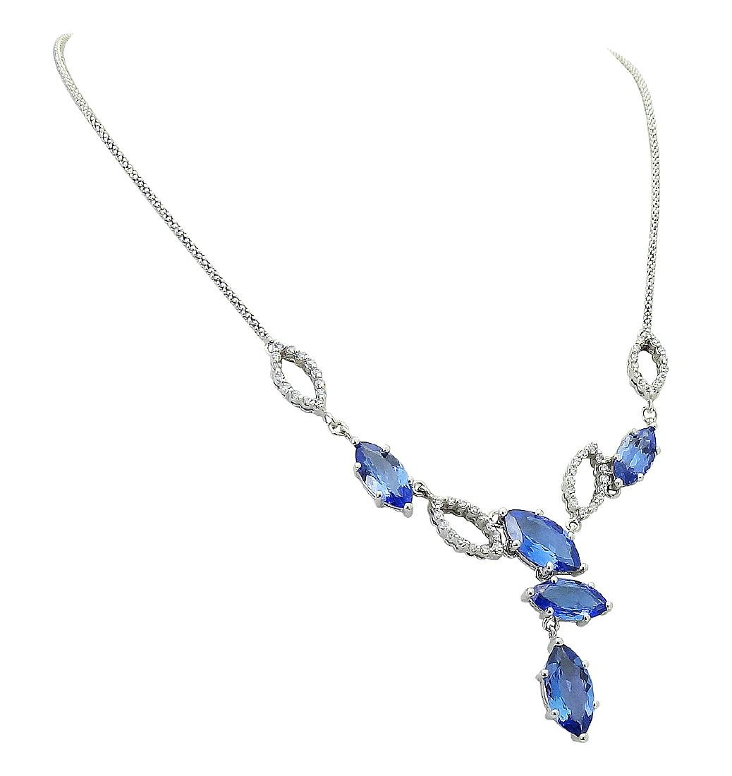 14k White Gold 10.50 TCW Tanzanite & Diamond Necklace