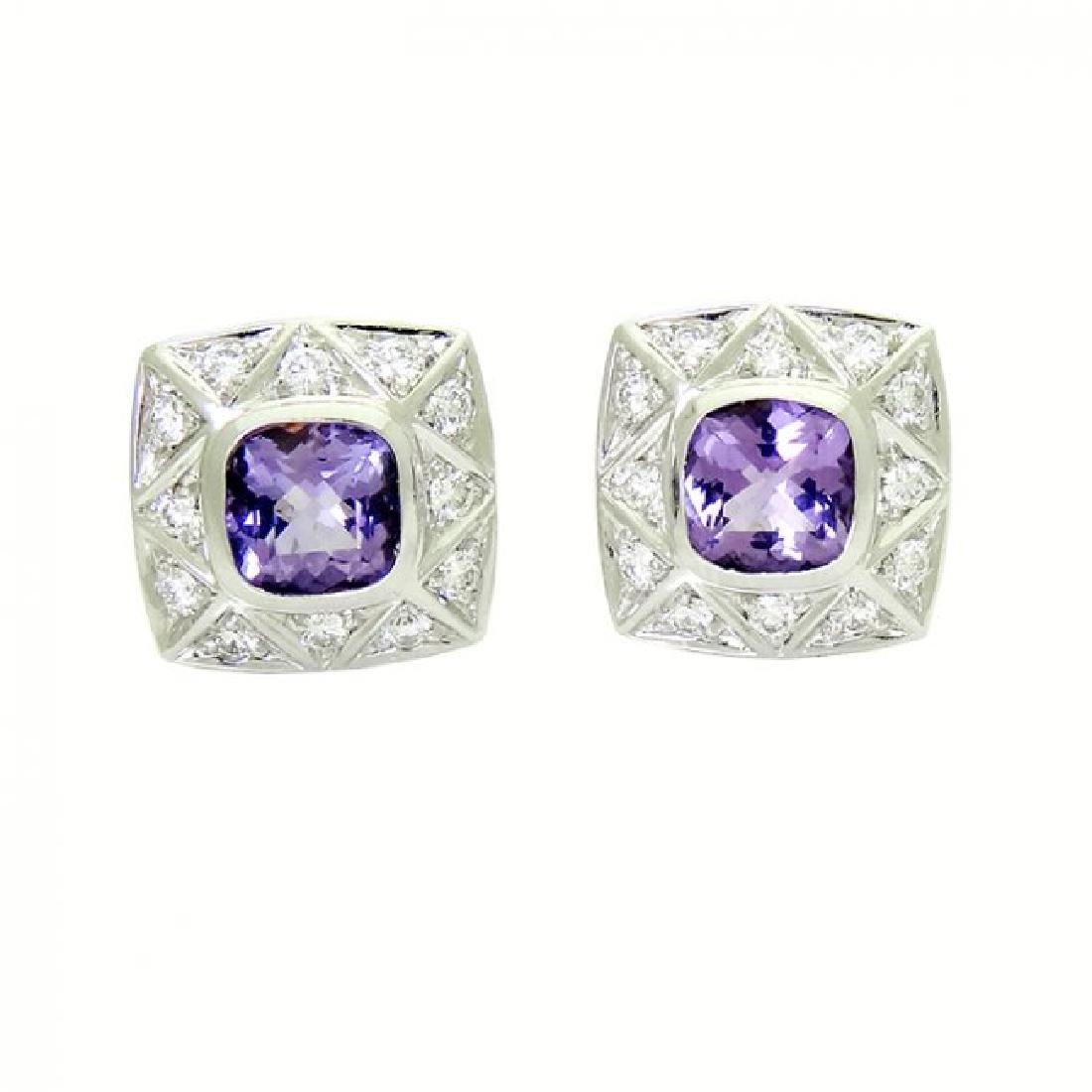 Lovely Pr 18K White Gold Amethyst and Diamond Earrings