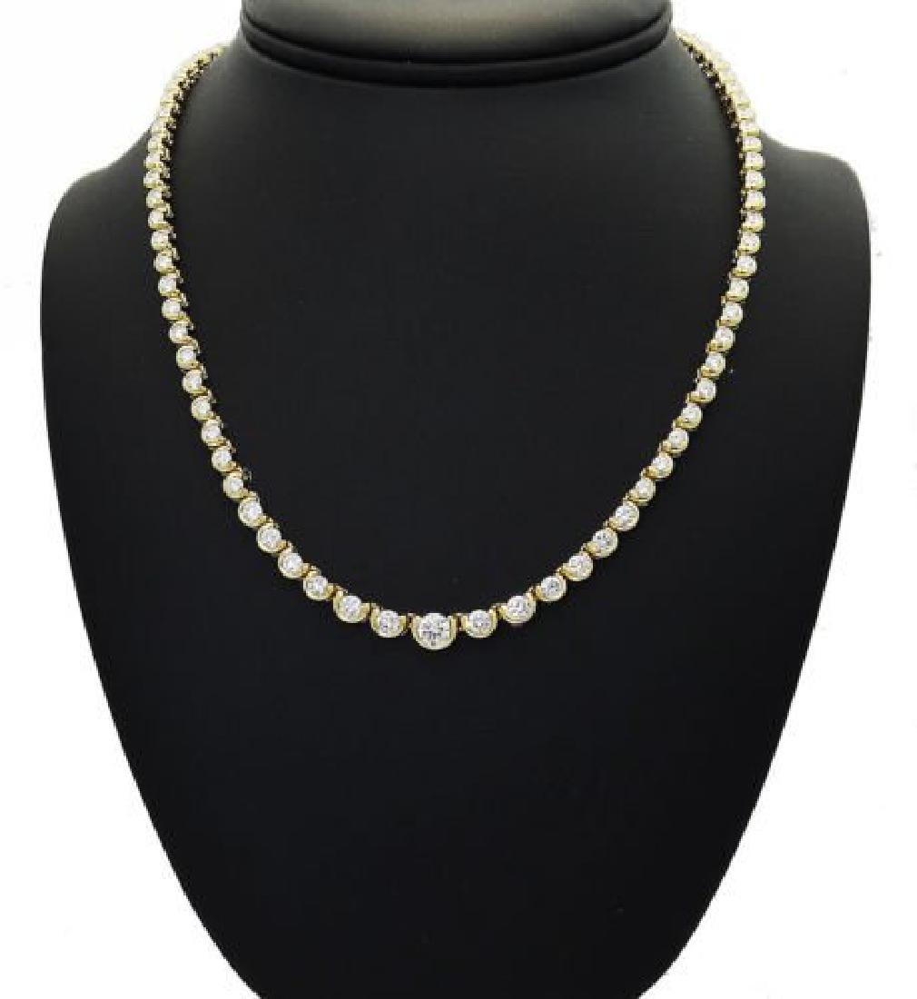 18k  Gold Over 10.00 TCW Round Brilliant Cut Necklace
